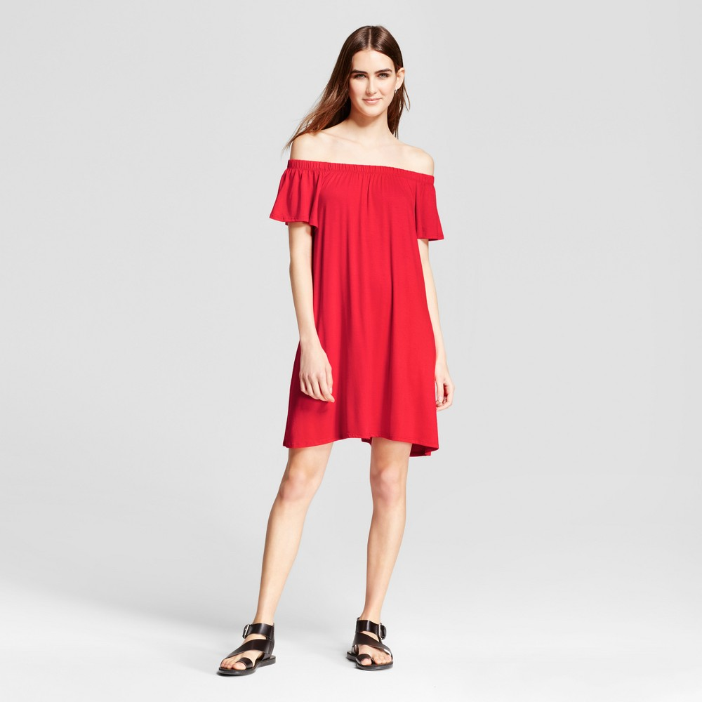Womens Off the Shoulder Dress - Vanity Room Red XS