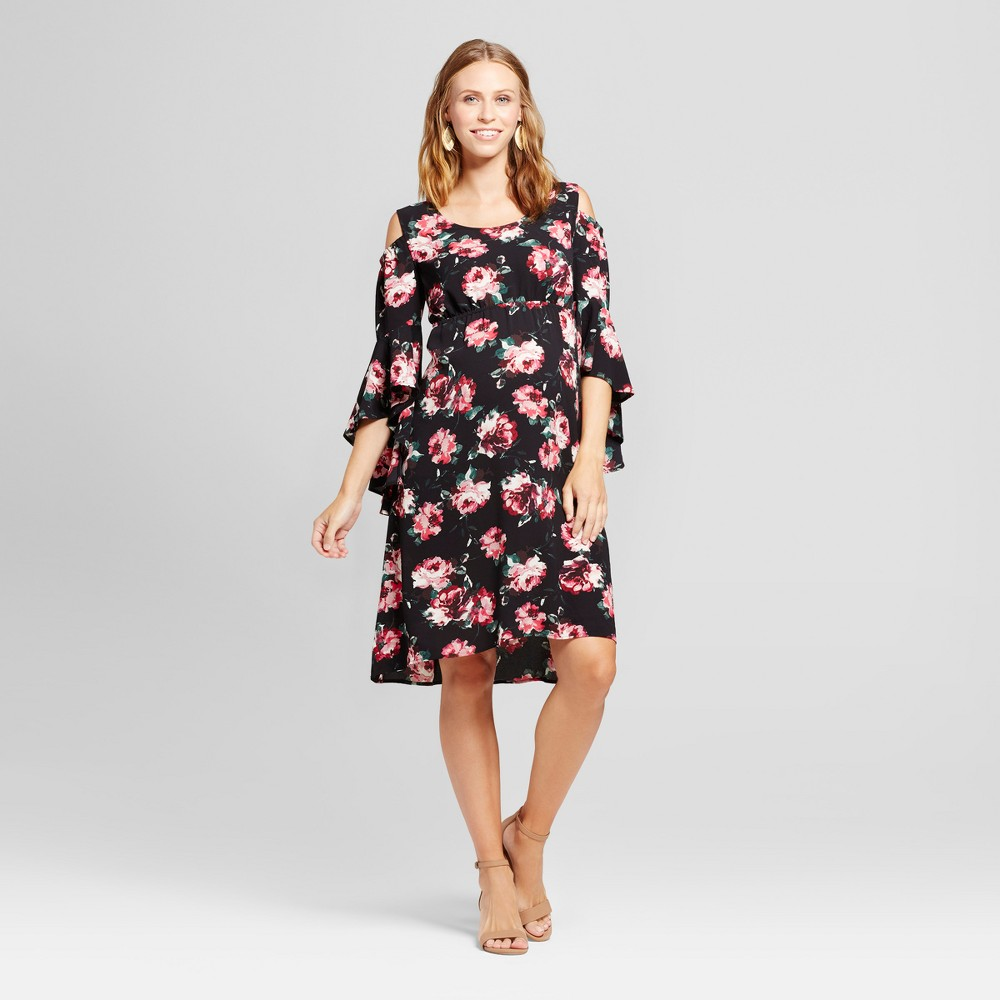 Maternity Floral Cold Shoulder Flared Sleeve Dress Black L - Fynn And Rose, Womens