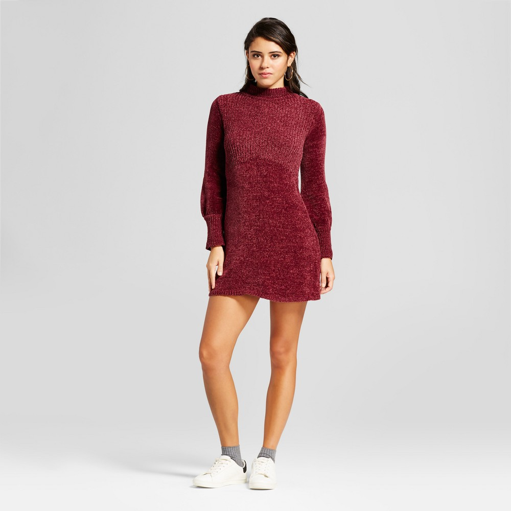 Womens Chenille Mockneck Dress - Xhilaration (Juniors) Wine (Red) Xxl