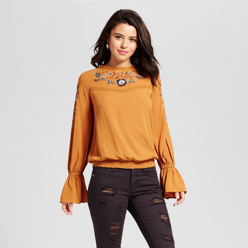 Womens Embroidered Bell-Sleeve Top - Xhilaration (Juniors) Gold Xxl