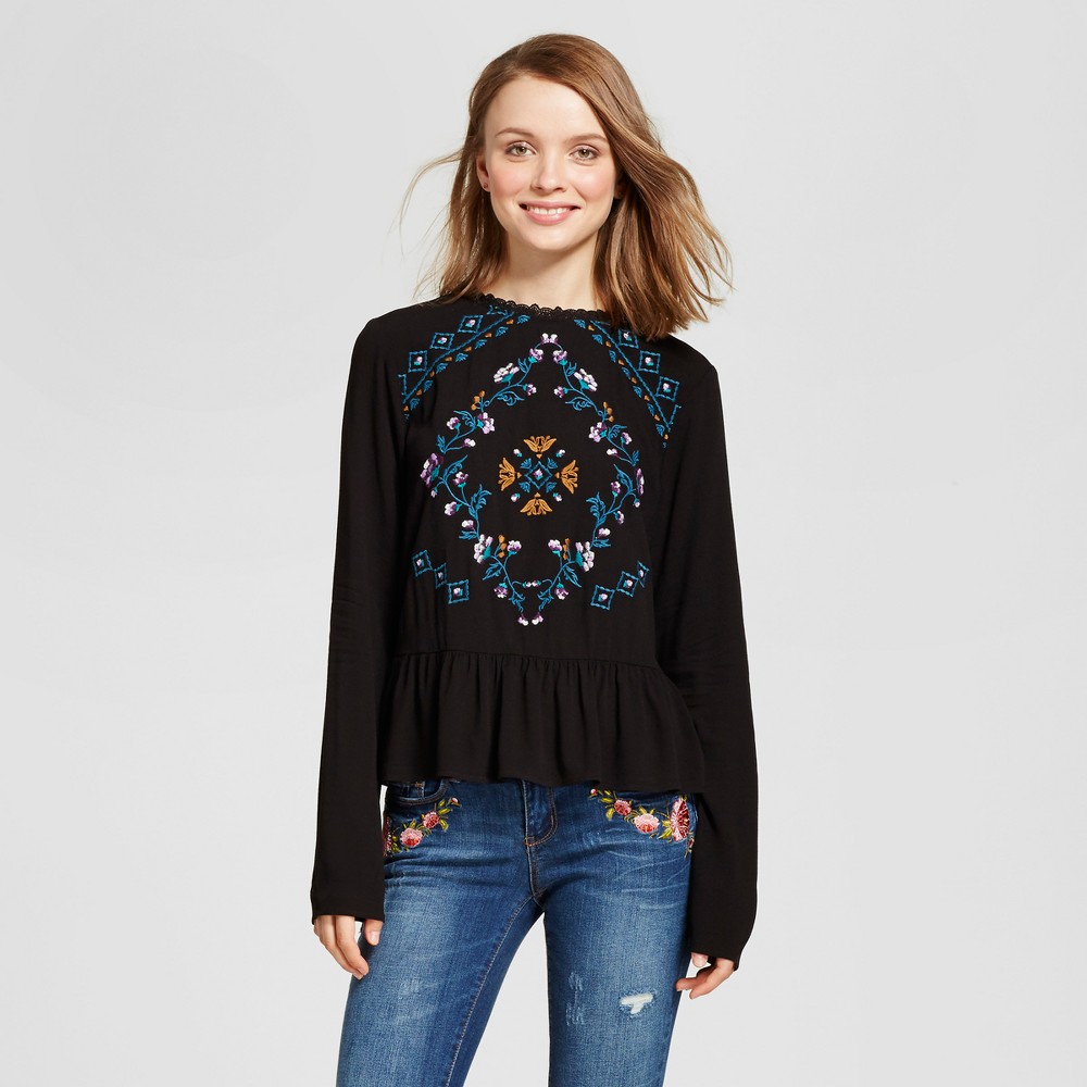 Womens Embroidered Peplum Top - Xhilaration (Juniors) Black L