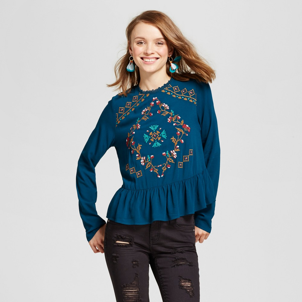 Women's Embroidered Peplum Top - Xhilaration (Juniors') Teal (Blue) L