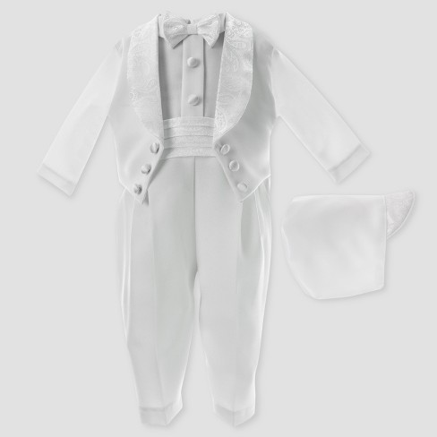 Baby Boys' Small World Satin Long Coverall with Hat - White - image 1 of 1