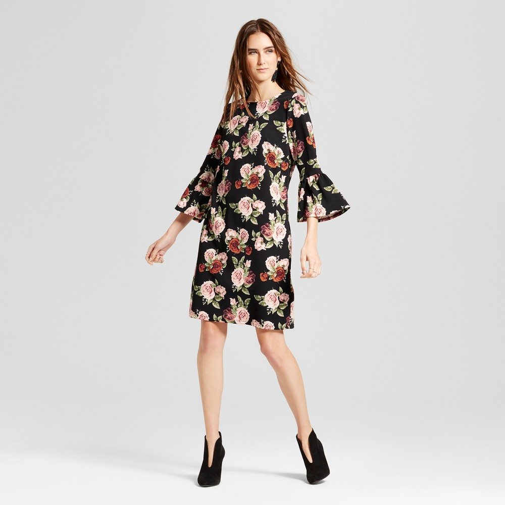 Womens Floral Ruffle Sleeve Shift Dress - Alison Andrews Black M