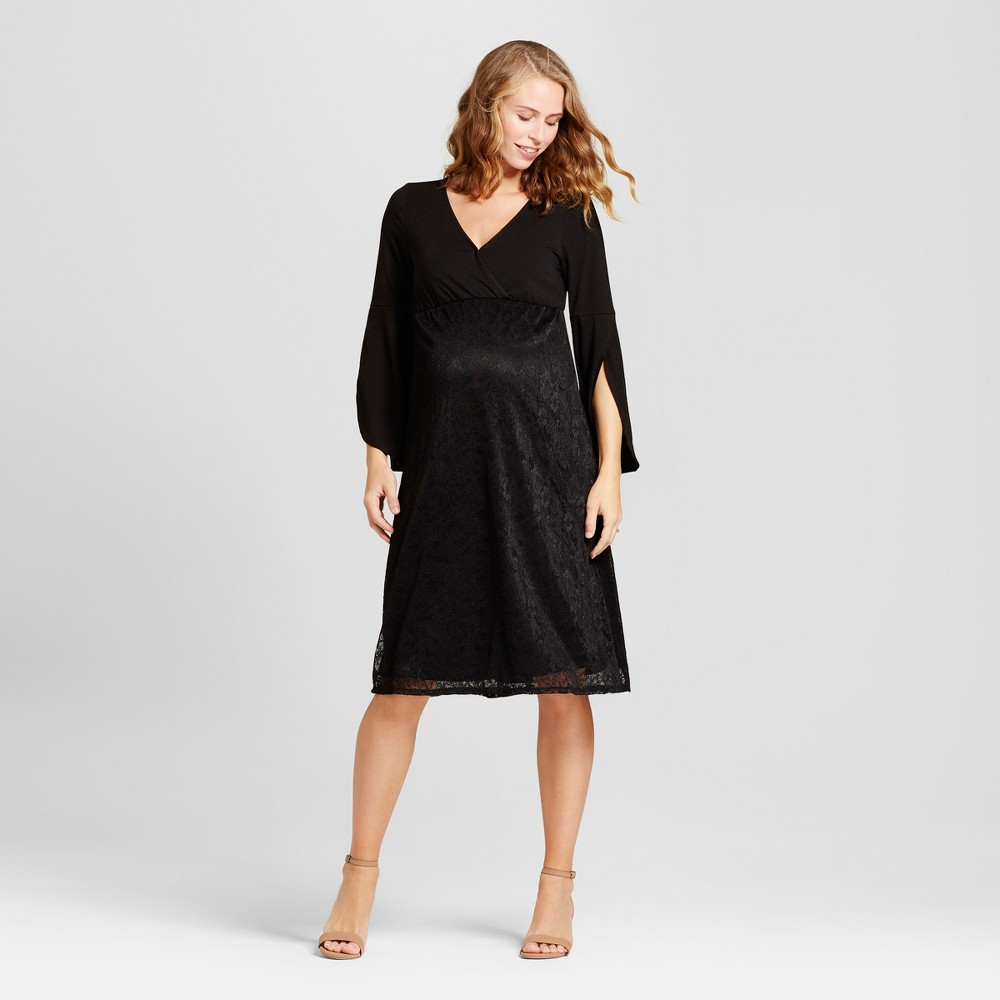Maternity Lace Bell Sleeve Dress - Fynn & Rose Black S, Womens
