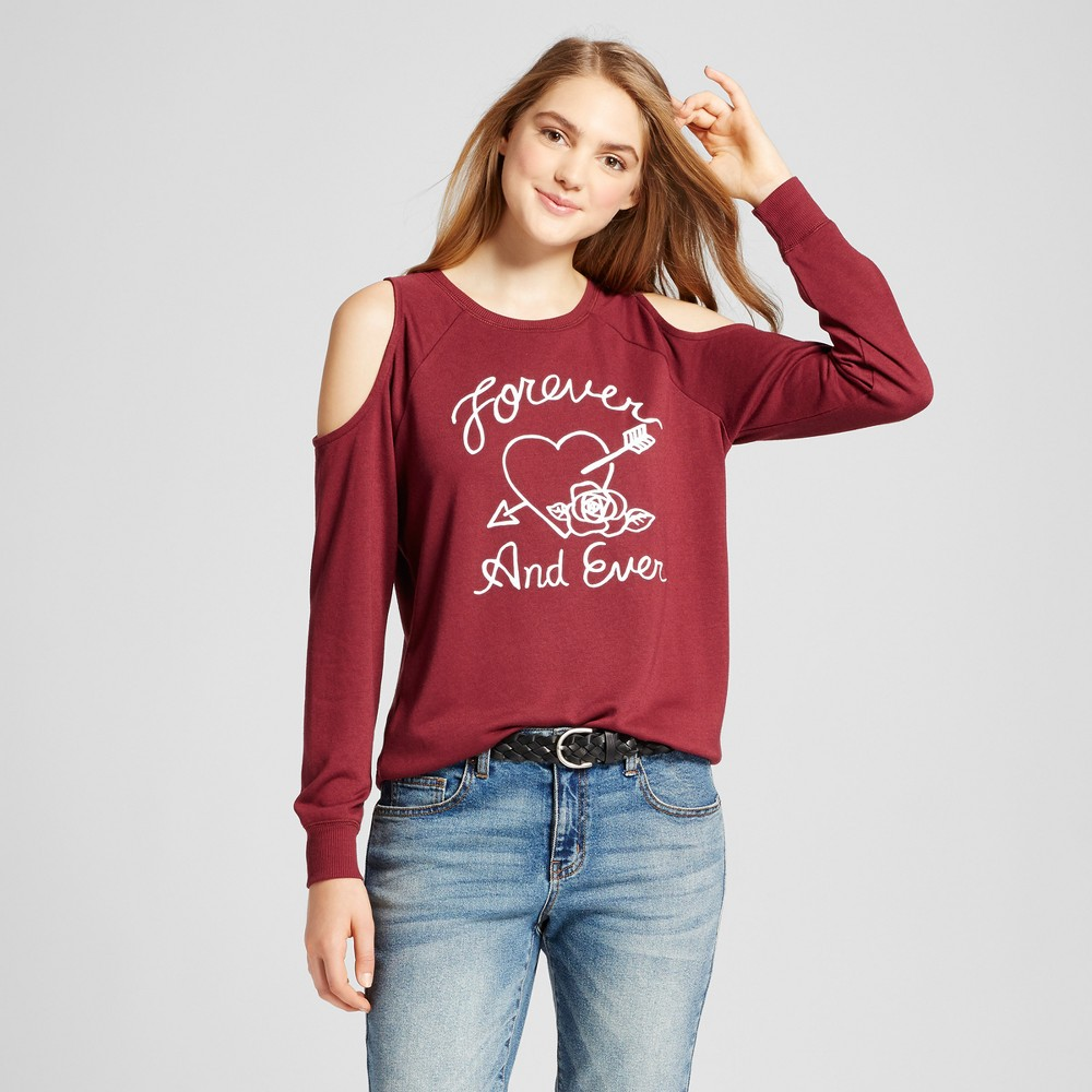 Womens Forever and Ever Heart Cold Shoulder Graphic Sweatshirt - Modern Lux (Juniors) Burgundy L, Purple