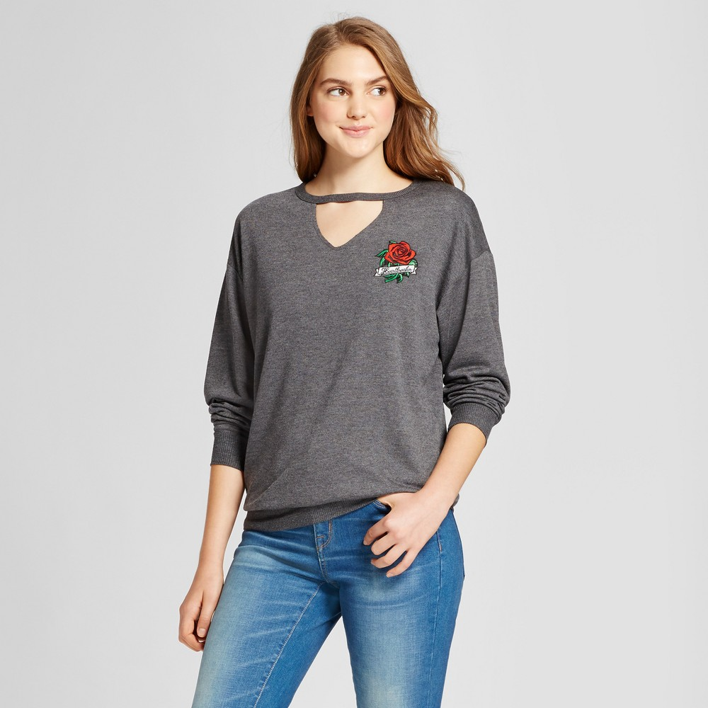 Womens Heartbreaker Embroidered Cutout Graphic Sweatshirt - Modern Lux (Juniors) Charcoal XS, Gray