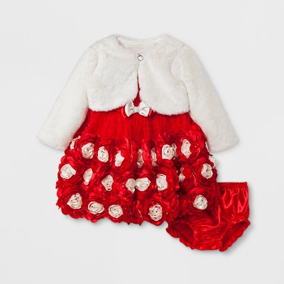 Baby Grand Signature Baby Girls' Satin Rosette Dress and Velboa Faux Fur Jacket - Red 12M