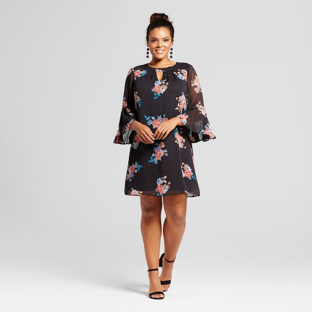 Womens Plus Size Floral Printed Keyhole Shift Dress - Lily Star (Juniors) Black 1X