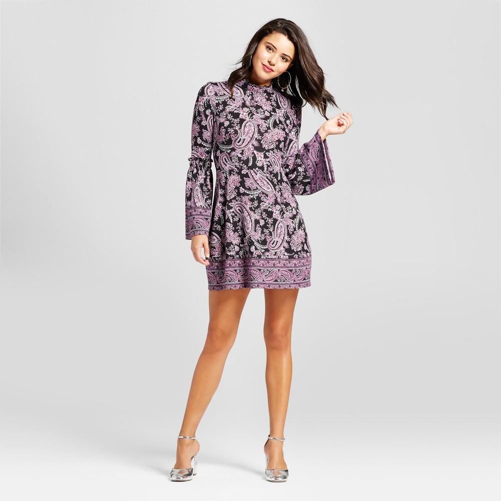 Womens Mockneck Bell-Sleeve Fit & Flare Dress - Xhilaration (Juniors) Purple Xxl