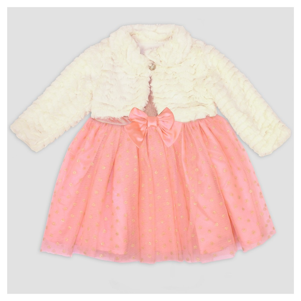 Baby Grand Signature Baby Girls Satin Sequin Overlay Dress and Fur Jacket - Coral 18M, Size: 18 M, Orange