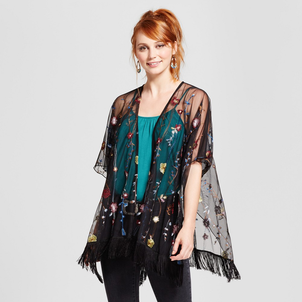Womens Embroidered Mesh Kimono - Xhilaration (Juniors) Black XL/Xxl