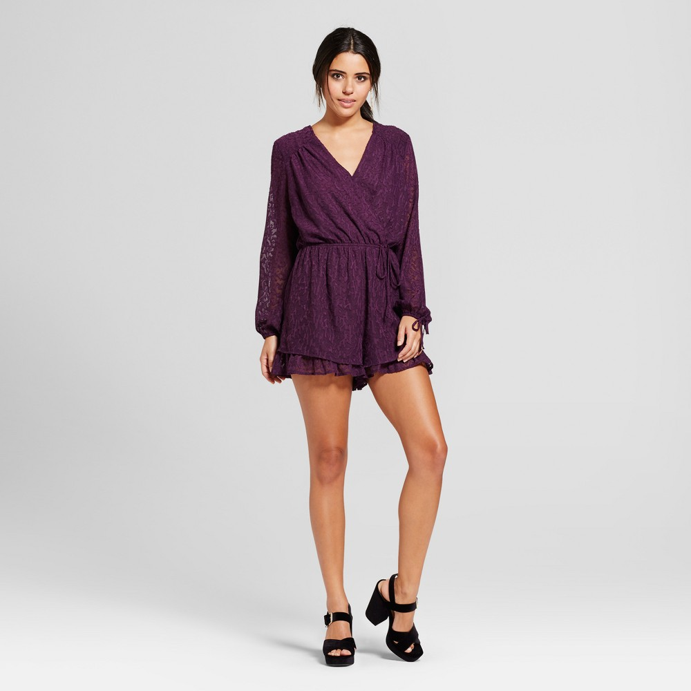 Womens Long Sleeve Romper - Xhilaration (Juniors) Eggplant XL