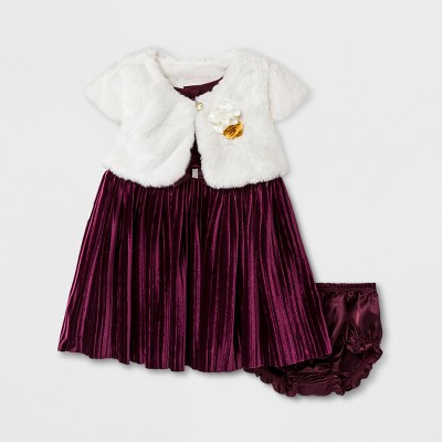 Baby Grand Signature Baby Girls' Pleated Panne Dress and Faux Fur Jacket - Burgundy 6-9M