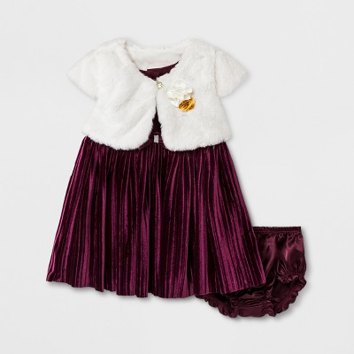Baby Grand Signature Baby Girls' Pleated Panne Dress and Fur Jacket - Burgundy 12M