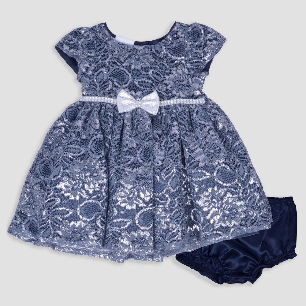 Baby Grand Signature Baby Girls Satin Metallic Lace Overlay Dress - Navy 18M, Size: 18 M, Blue