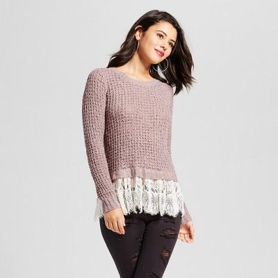Women's Lace-Trim Sweater - Xhilaration™ (Juniors')Lilac XS