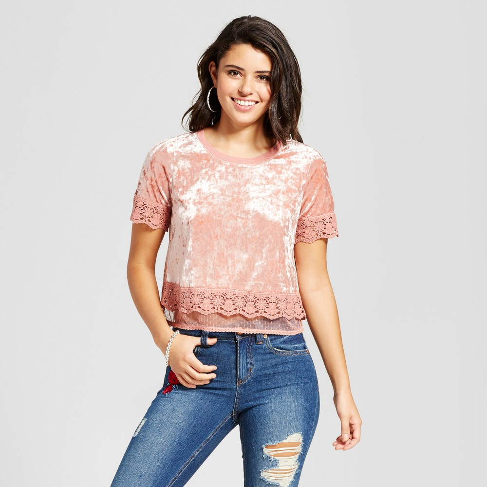 Womens Velvet Lace-Trim T-Shirt - Xhilaration (Juniors) Nude M