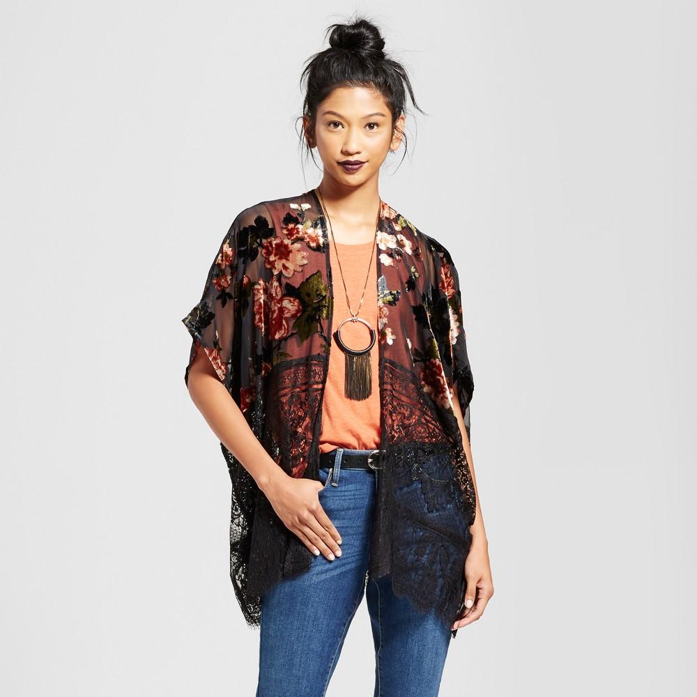 Womens Velvet Lace Kimono - Xhilaration (Juniors) Dark Gray XL/Xxl
