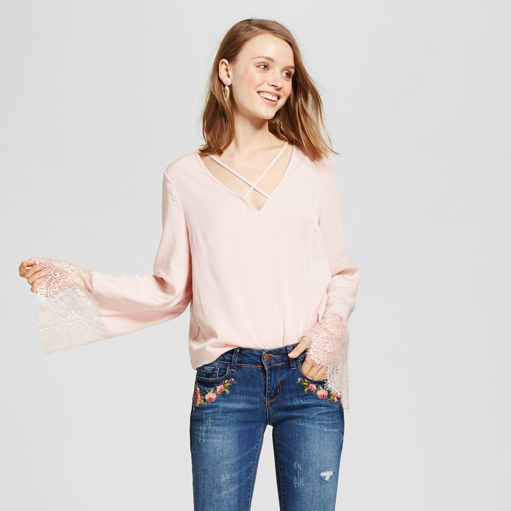 Womens Strappy Lace Bell Sleeve Top - Grayson Threads (Juniors) Cream XL, Pink