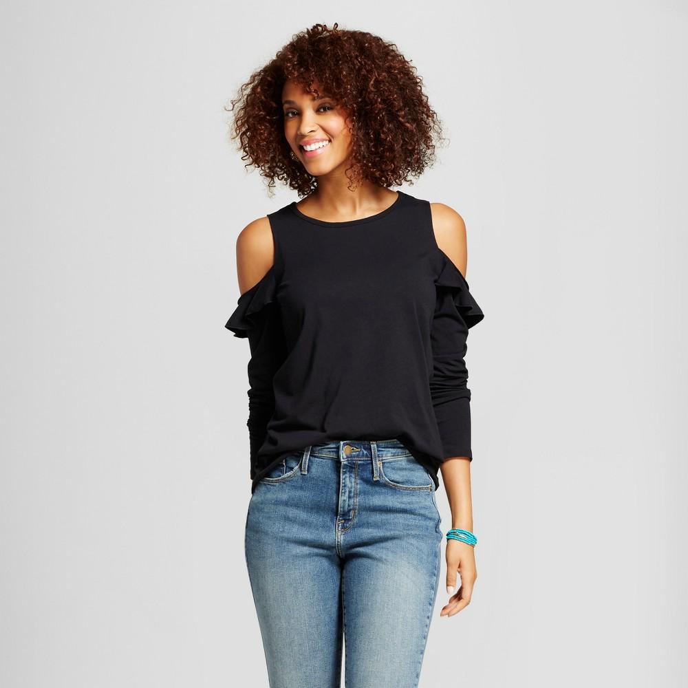 Womens Ruffle Sleeve Cold Shoulder Top - Grayson Threads (Juniors) Black XL