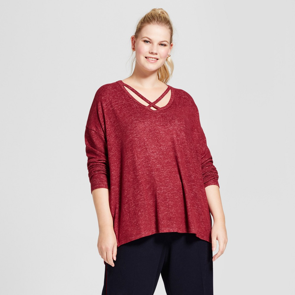 Womens Plus Size Long Sleeve Cozy T-Shirt - A New Day Burgundy X, Red