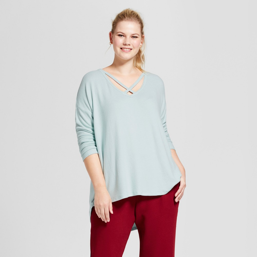 Womens Plus Size V-Neck Cozy Long Sleeve T-Shirt - A New Day Mint 1X, Pale Mint
