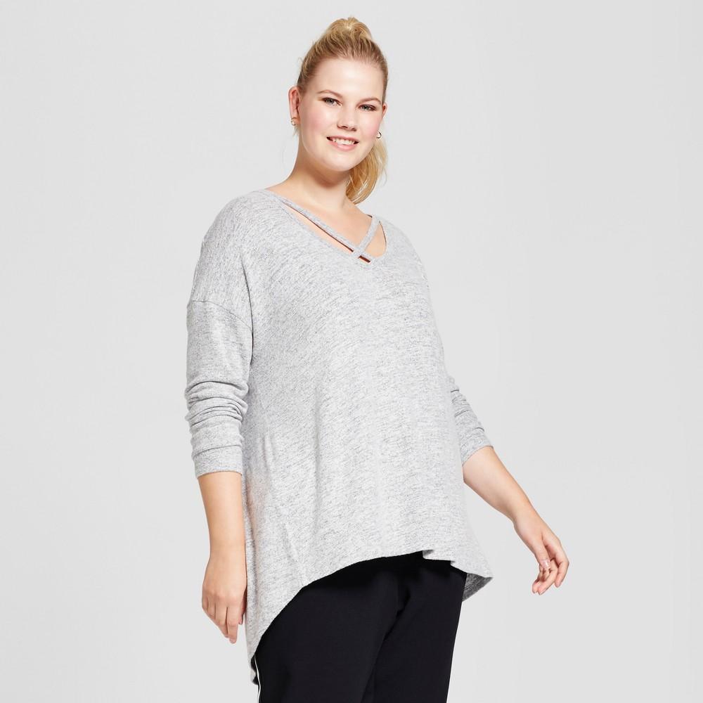 Womens Plus Size V-Neck Cozy Long Sleeve T-Shirt - A New Day Gray 4X, Light Gray