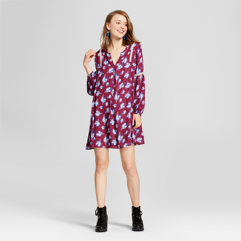 Womens Floral Bell Sleeve Wrap Front Dress - Grayson Threads (Juniors) Purple S, Purple Red