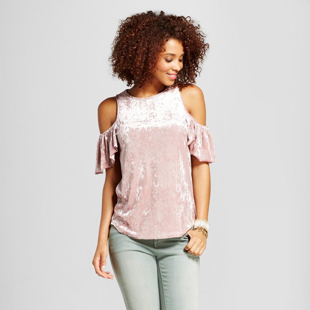 Womens Crushed Velvet Cold Shoulder Top - Grayson Threads (Juniors) Purple L