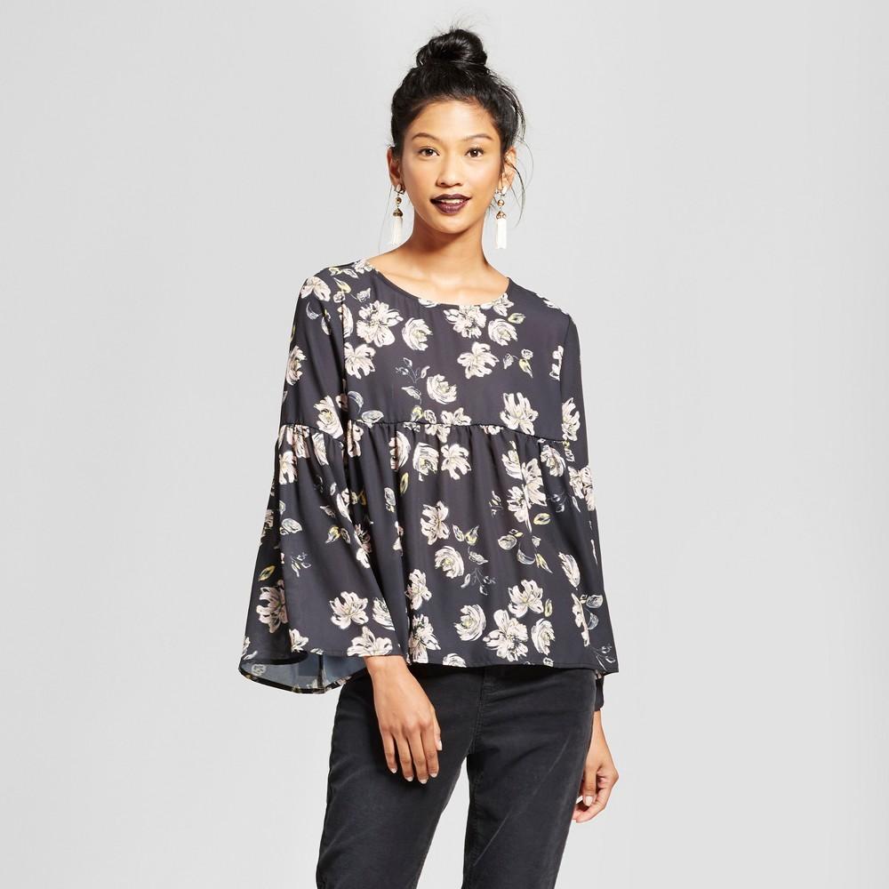 Womens Floral Peplum Bell Sleeve Top - Grayson Threads (Juniors) Black S