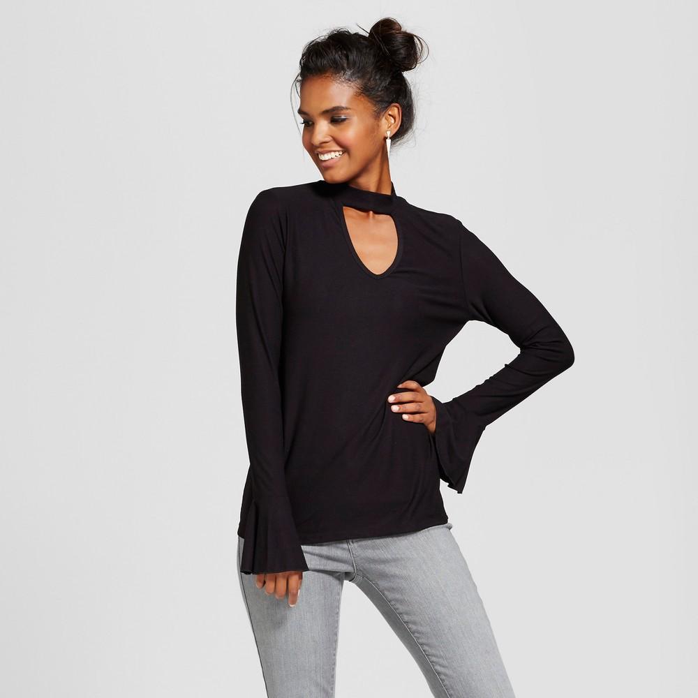 Womens Bell Sleeve Choker Neck Top - Grayson Threads (Juniors) Black M