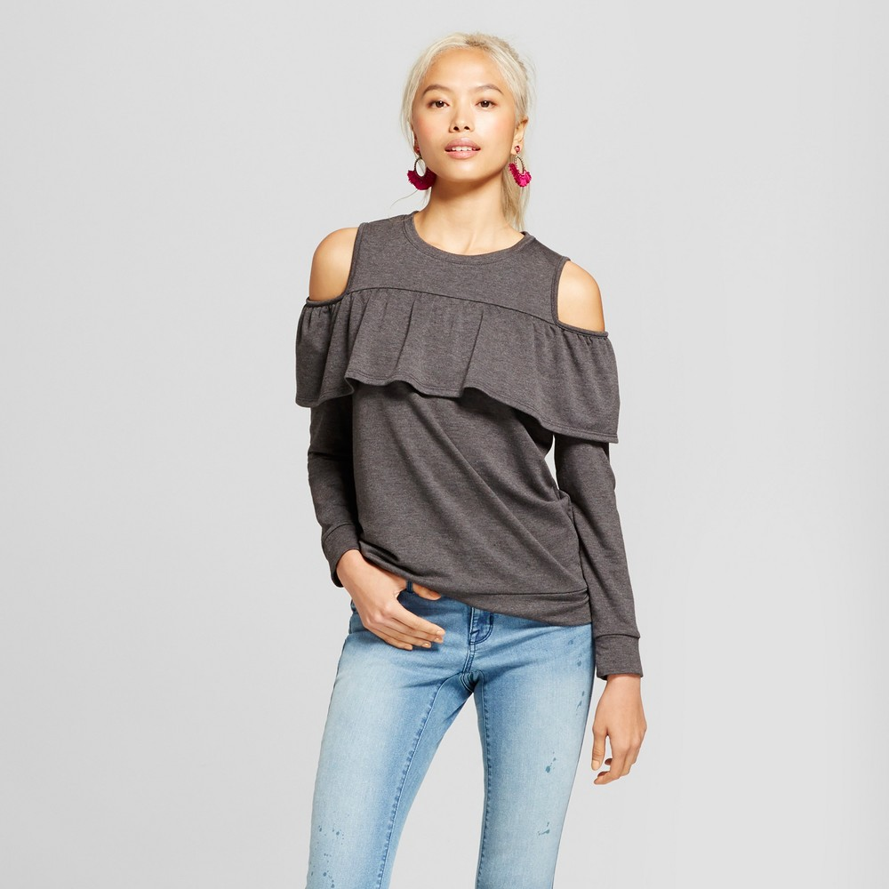 Women's Ruffle Cold Shoulder French Terry Pullover Sweatshirt - Grayson Threads (Juniors') Gray S, Black