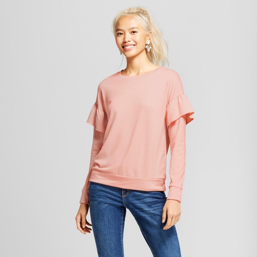 Women's Ruffle Sleeve French Terry Pullover Sweatshirt - Grayson Threads (Juniors') Pink S