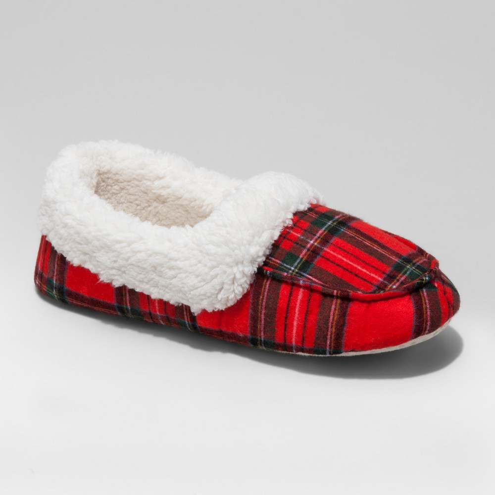 Mens Plaid Moccasin Slippers - Red L(11-12), Size: L (11-12)