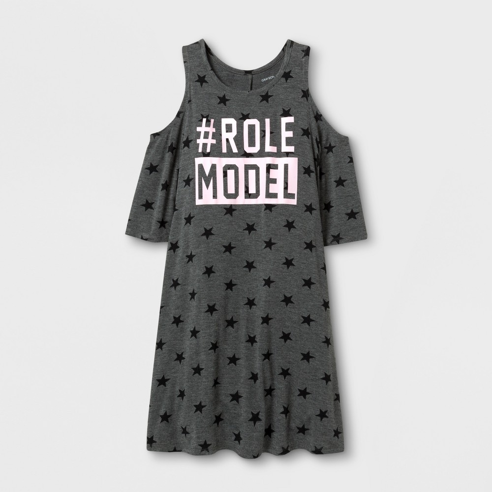 Girls Hashtag Role Model Graphic Cold Shoulder Dress - Charcoal XS, Gray