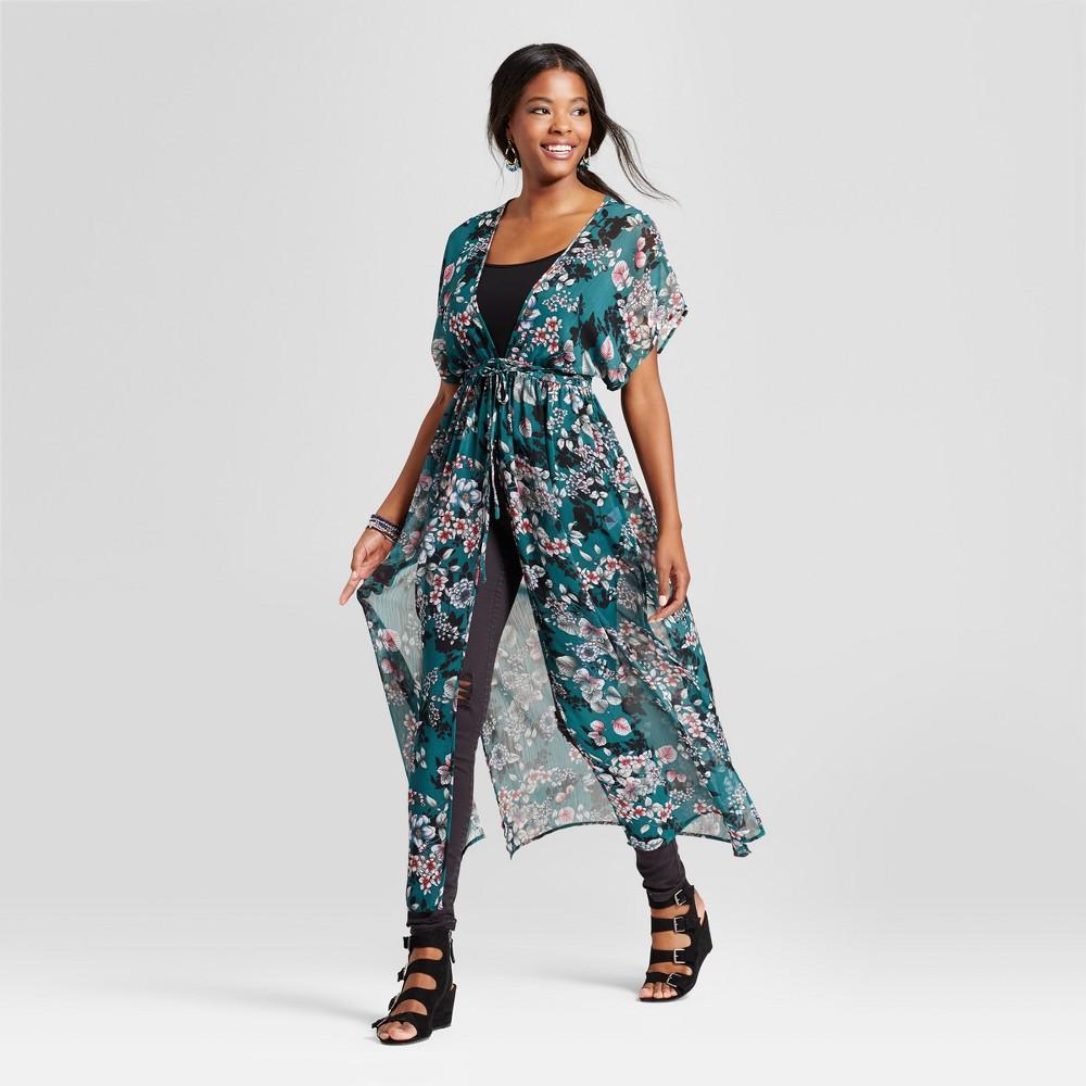 Womens Duster Lurex Kimono - Xhilaration (Juniors) Green M/L, Green Shade