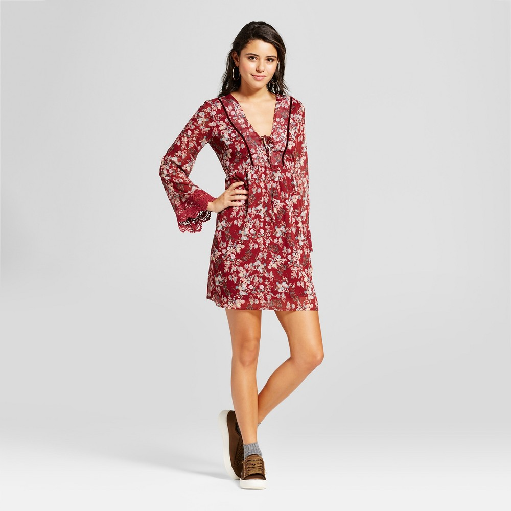 Womens Tie-Front Printed Dress - Xhilaration (Juniors) Berry (Pink) S