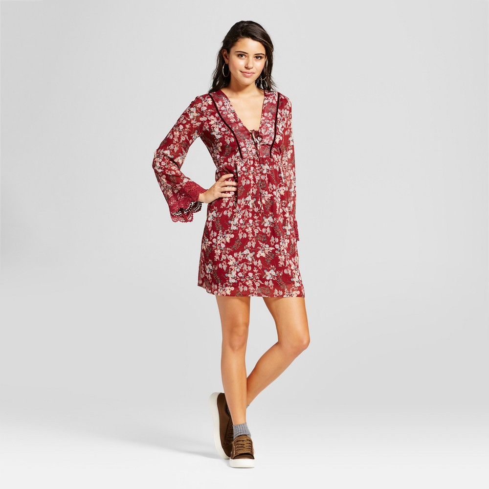 Womens Tie-Front Printed Dress - Xhilaration (Juniors) Berry (Pink) Xxl