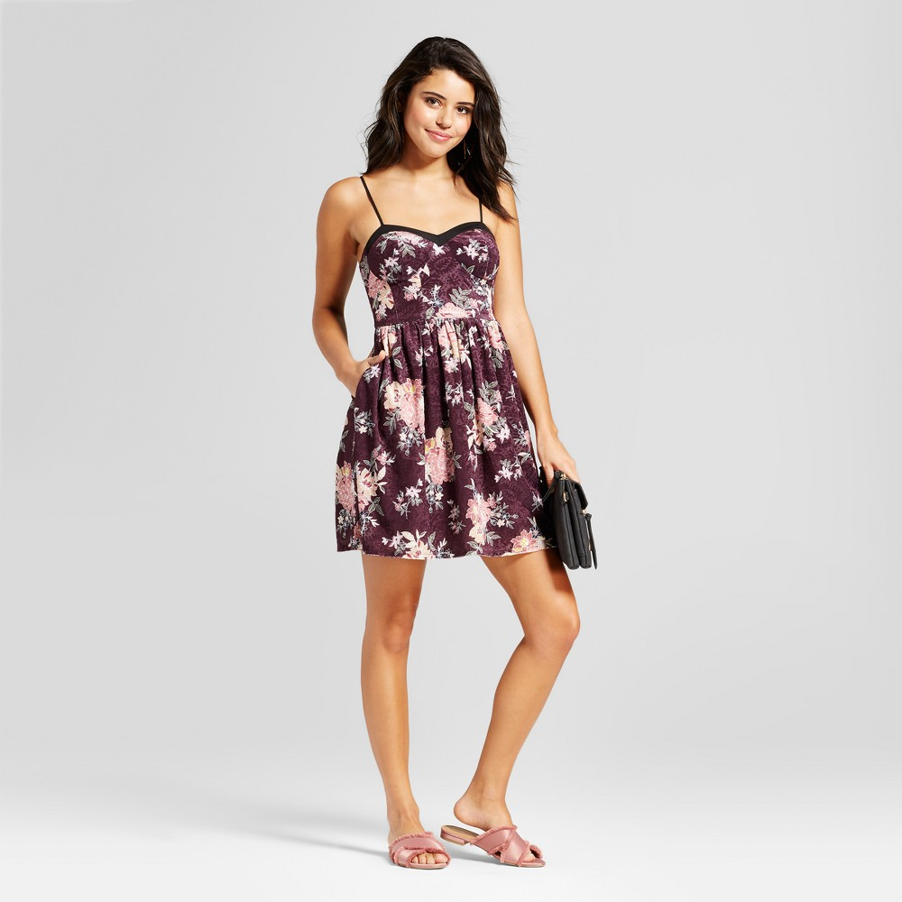 Womens Printed Cup Fit & Flare Dress - Xhilaration (Juniors) Wineberry XS