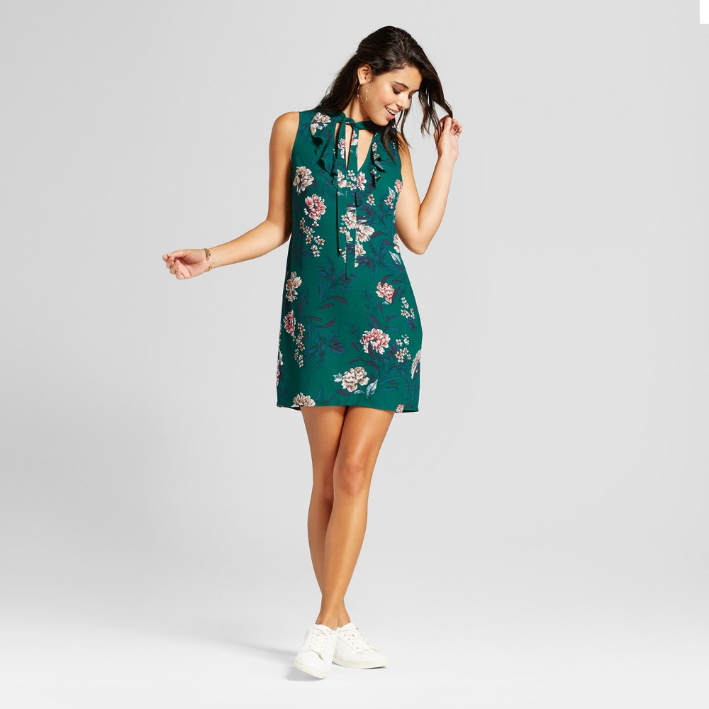 Womens Ruffle Tie-Neck Shift Dress - Xhilaration (Juniors) Emerald Green XL