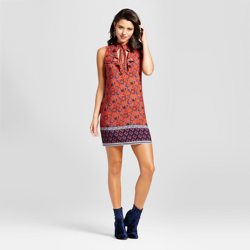 Womens Ruffle Tie-Neck Shift Dress - Xhilaration (Juniors) Rust (Red) XS