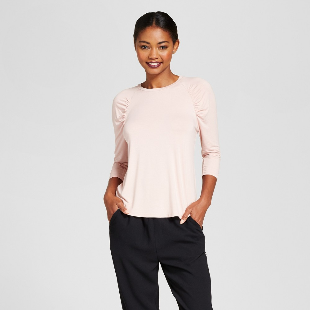 Womens 3/4 Sleeve Ruched Top - A New Day Blush S