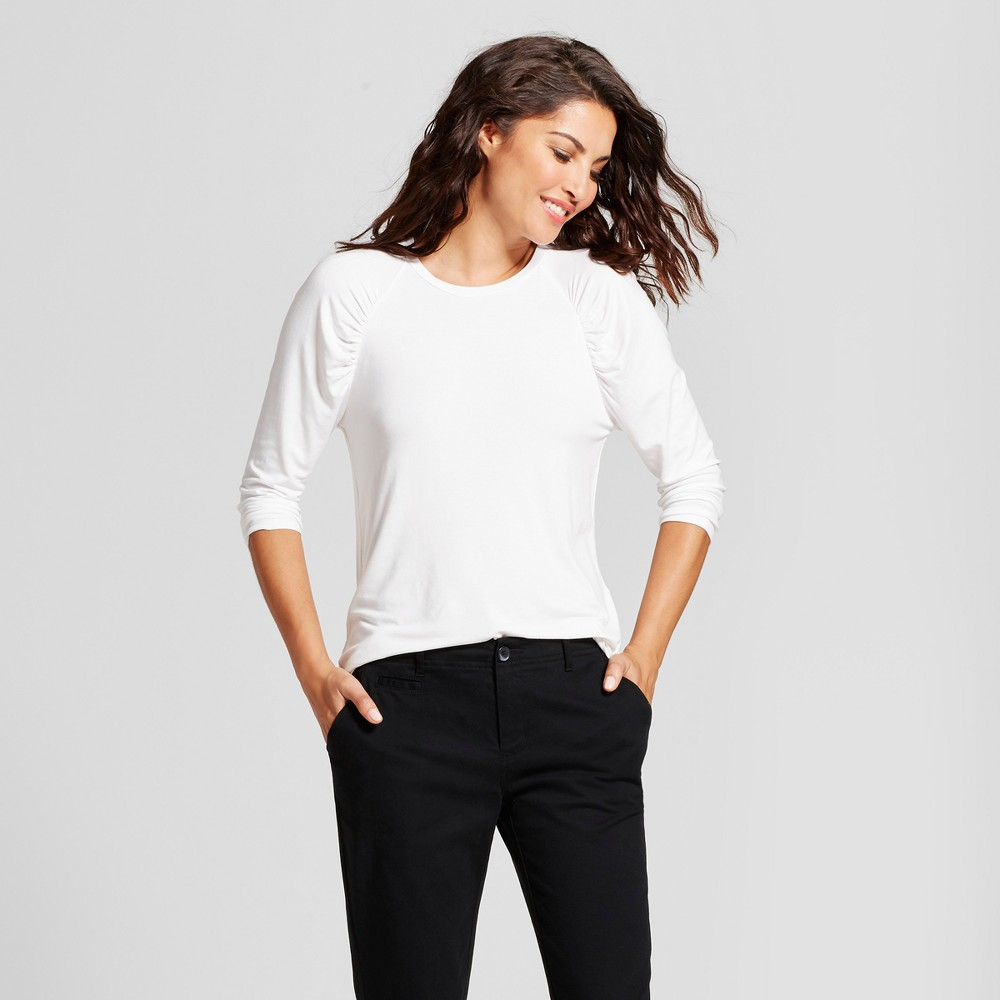 Womens 3/4 Sleeve Ruched Top - A New Day White L