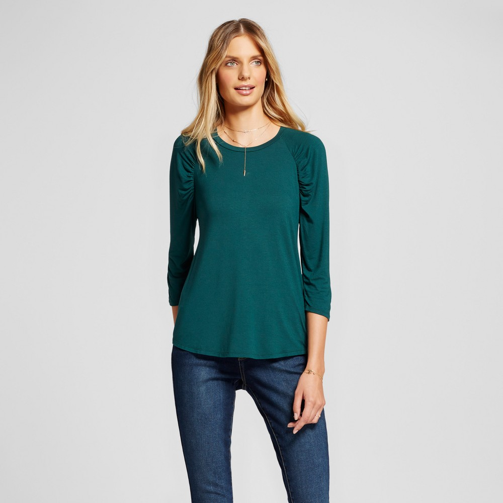 Womens 3/4 Sleeve Ruched Top - A New Day Dark Green M