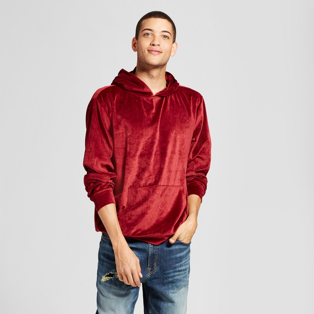 Mens Long Sleeve Velour Hooded Sweatshirt - Jackson Burgundy L, Red
