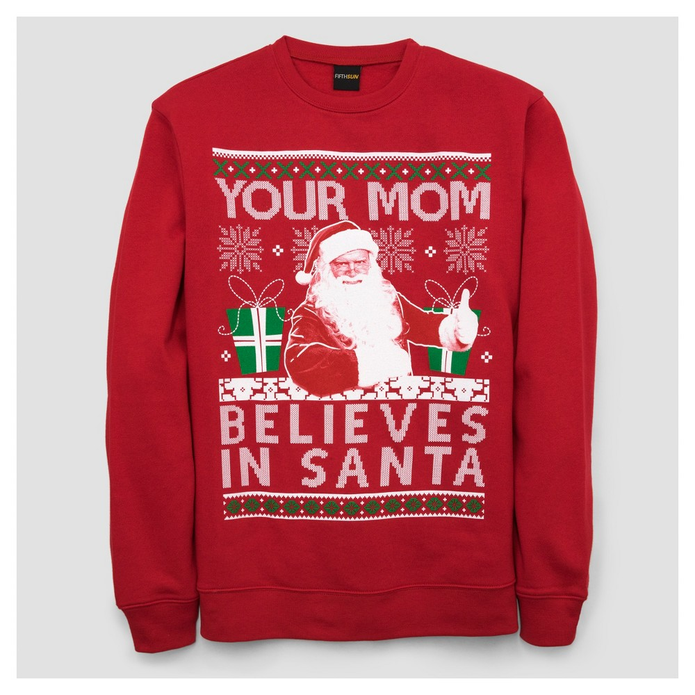 Mens Your Mom Believes in Santa Fleece T-Shirt - Red M