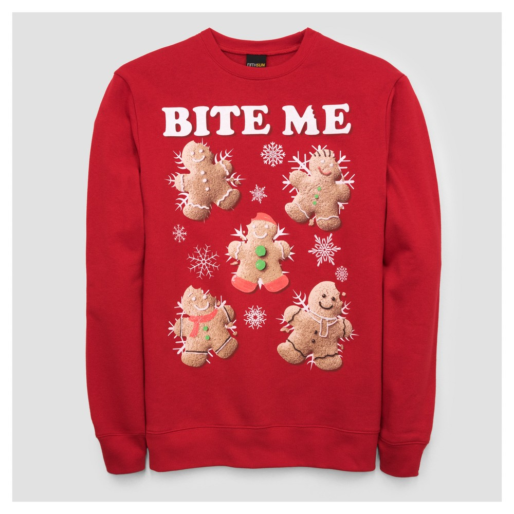 Mens Bite Me Gingerbread Fleece Sweater - Red Xxl