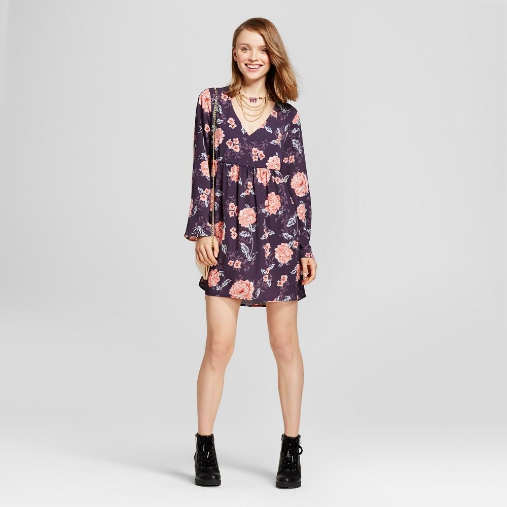 Womens Floral Crochet Detail V-Neck Dress - Grayson Threads (Juniors) Purple M, Black