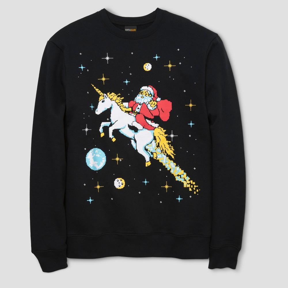 Mens Santa Unicorn Fleece T-Shirt - Black Xxl